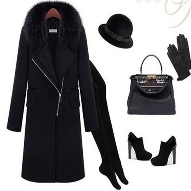 2015New Hot Sale star style winter elegant women fashion big artificial fox fur collar with zippers long woolen coat LQY096 US $55.21 /piece Specifics Gender	Women Outerwear Type	Wool & Blends Decoration	Pockets,Zippers Clothing Length	Long Pattern Type	Solid Sleeve Style	regular Brand Name	long wool coat Closure Type	Zipper Type	Slim Material	Polyester,Spandex Collar	Turn-down Collar Sleeve Length	Full Material Composition	women   Click to Buy :http://goo.gl/t9O329