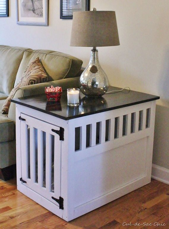 nice dog crate table...great for a mellow crate trained dog or puppy, Maybe not such a good idea for one that bumps around. (Picturing lamp shards, etc. all over.).  :D