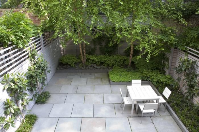 tidy urban garden large scale bluestone pavers angular