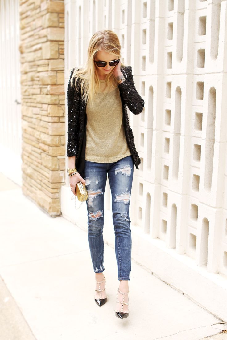 black sequin blazer, metallic gold sweater, distressed denim jeans, black valentino rockstud heels, gold snake clutch, prada sunglasses