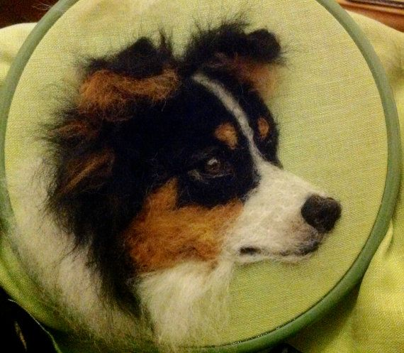 2D Needle Felted Picture Border Collie Dog by ChicktinCreations