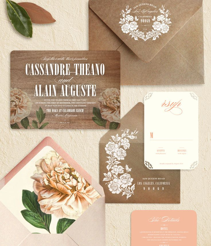 peach peony wedding invitation mahogany wood white ink. Black Bedroom Furniture Sets. Home Design Ideas