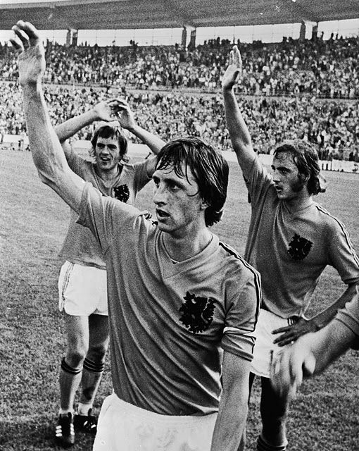 """""""Total Football"""" (Dutch: totaalvoetbal) is the label given to an influential tactical theory of association football in which any outfield player can take over the role of any other player in a team. It was pioneered by Dutch football club Ajax from 1969 to 1973, and further used by the Netherlands National Football Team in the 1974 FIFA World Cup. It was invented by Rinus Michels, a famous Dutch football trainer/coach (who was the coach of both Ajax and the Netherlands national team at the…"""