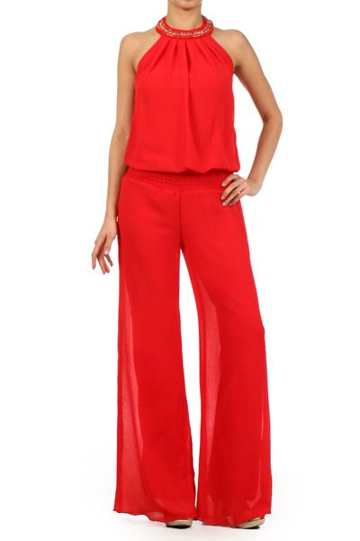 Sleeveless Solid Color Jumpsuit With Halter Neck Pleating And Wide Legs (FREE SHIPPING) at ebuybit