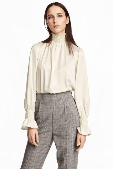 Silk blouse with smocking - White - Ladies | H&M GB 1