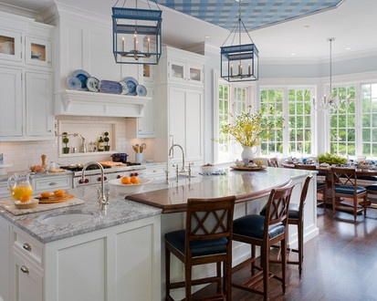 Traditional White And Blue Kitchen, Traditional Kitchen, New York