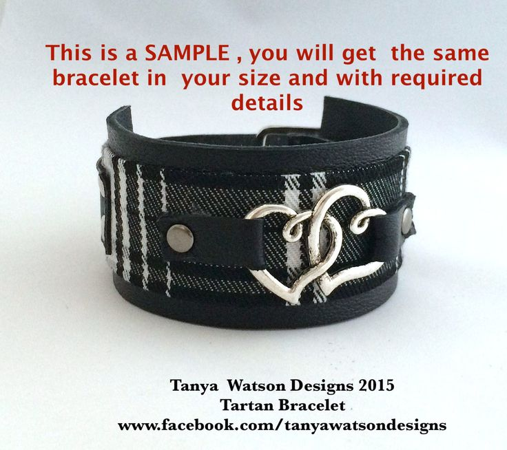HANDMADE black and white  Real leather and Scottish Tartan Bracelet / Cuff, vintage wool and  leather by TanyaWatsonDesigns on Etsy