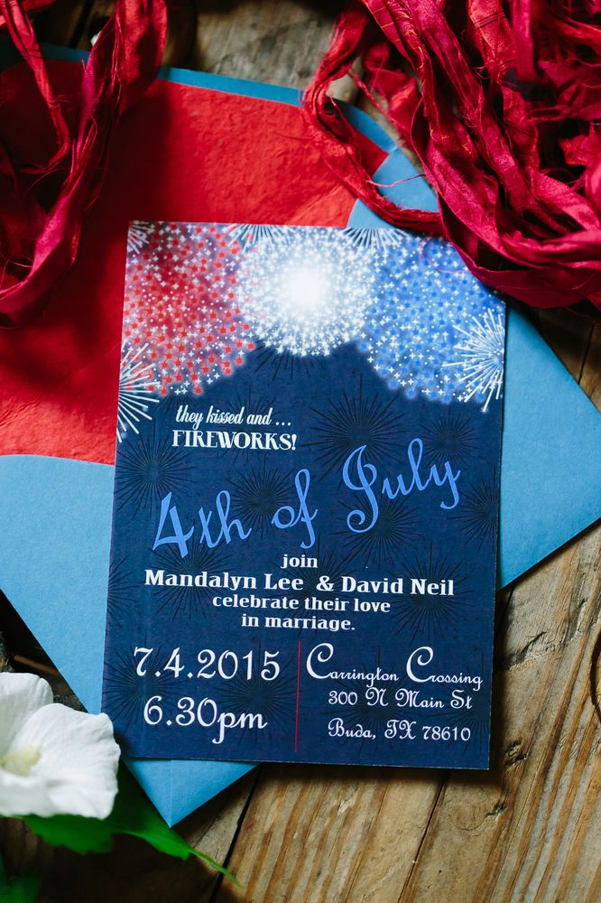Fireworks wedding invites for a 4th of July bash | Al Gawlik Photography | Pink Parasol Designs and Coordinating