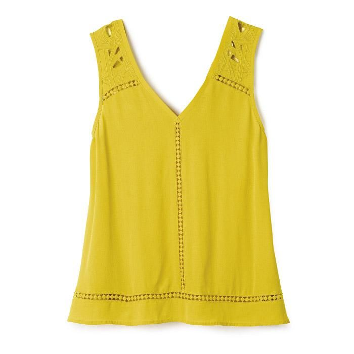 mark. by Avon Gaga For Guava Top | A sleeveless, lightweight top perfect for the warm summer weather! The cute green color commands attention in a crowd. FEATURES • V-neck in front and back • Sleeveless • Cutout designs on shoulder strap, center of v down and around the hem MATERIALS • 100% Rayon with cotton trim ~ Avon Lady Beth Bailey ~ Avon eStore LipstickShoesAndMore.com