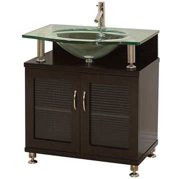 """Accara 30"""" Bathroom Vanity - Doors Only - Espresso w/ Clear or Frosted Glass Countertop   Free Shipping"""