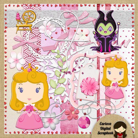 Cute Sleeping Beauty Digital Scrapbook Kit