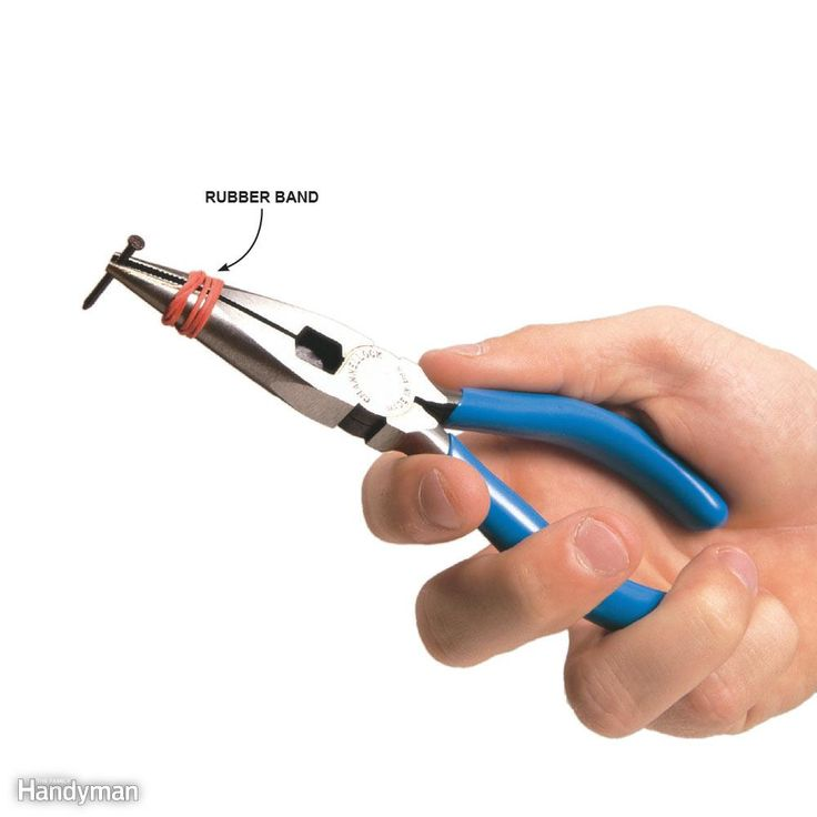 Make a small-parts clamp by wrapping a rubber band around the jaws of needle-nose pliers. The rubber band keeps the jaws of the pliers clamped together for holding small items. It works especially well for getting nuts into inaccessible spots or for starting small finish nails.