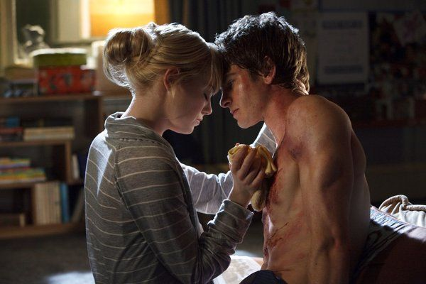 Emma Stone and Andrew Garfield shirtless in The Amazing Spider-Man