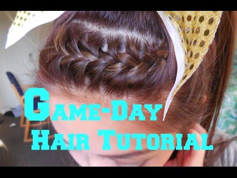 Here is my go to game day hair style. It is a simple french braid for your bangs or front hairs that is pulled up into high pony. I used to wear this as a ch...