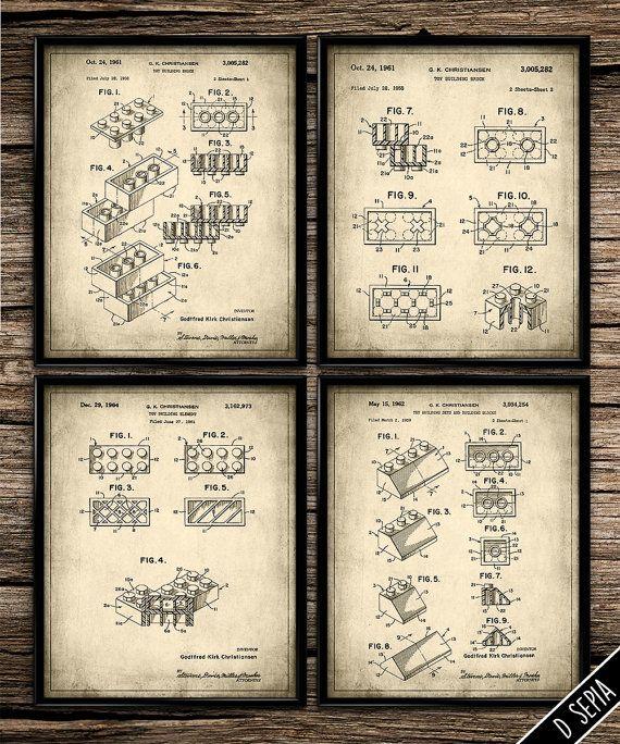 Vintage Patent Lego Building Blocks | Vintage Prints | Patent Prints | Office Decor | Home Decor | Printable Wall Art | 8x10 | Download |