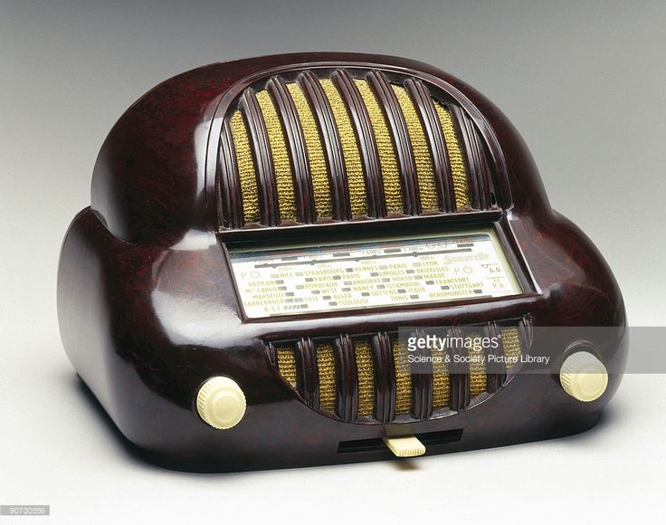 This radio has ivory phenolic plastic knobs, and a silver face with red, yellow and white lettering. The bakelite cabinet for the Sonorette five-valve radio was designed in America for the French market and is a malformed egg-shape made to resemble the front of an outrageous 1950s automobile. It was available in red, blue, green or brown and was described as 'petite et charmante' (small and charming). It worked off the mains or by plugging it into a car cigarette-lighter socket.