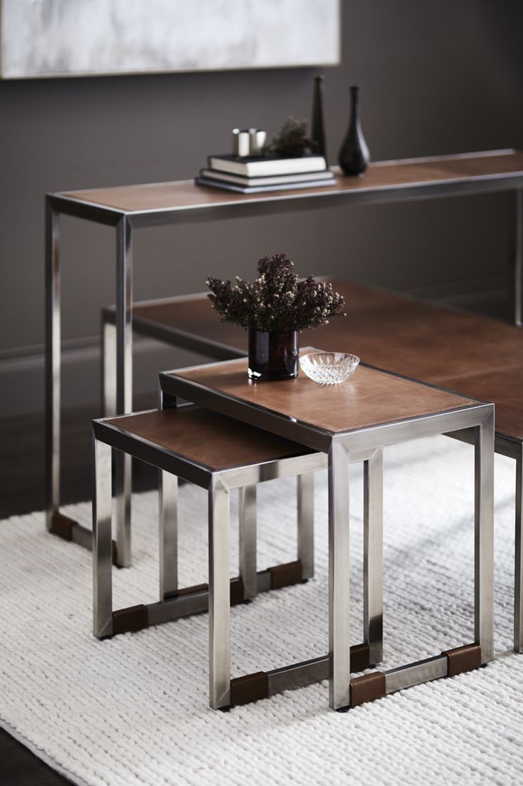Palecek Mathis Nesting Tables Set Of 2 Brushed Stainless Steel Frame And Legs With An Aniline Dyed Brown Cowhide Leather T Nesting Tables Table Interior Design