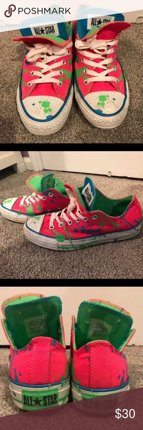 Double tongue neon Converse, size 7 Double tongue neon splatter paint Converse, size 7. Converse Shoes Sneakers