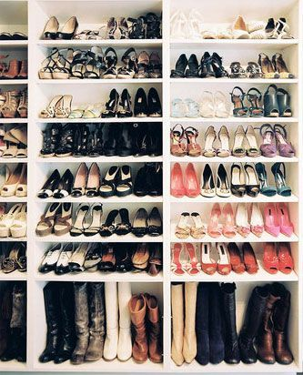 Cheap bookcases in the closet for a shoe rack // I can't imagine that many shoes, but the idea is sound.