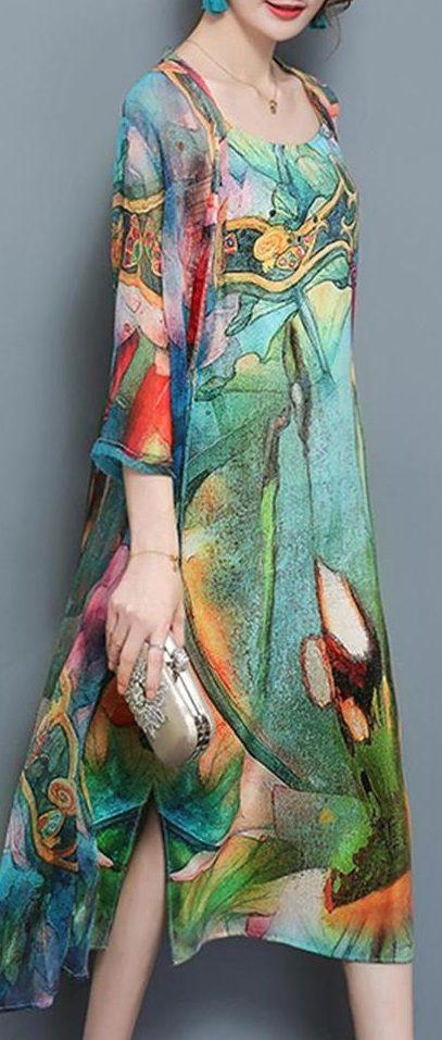 27820f29e1e  59.99 USD  Free Shipping!SHOP NOW   Women 3 4 Sleeve Two Pieces Set Straps  Elegant Printed Plus size Dress
