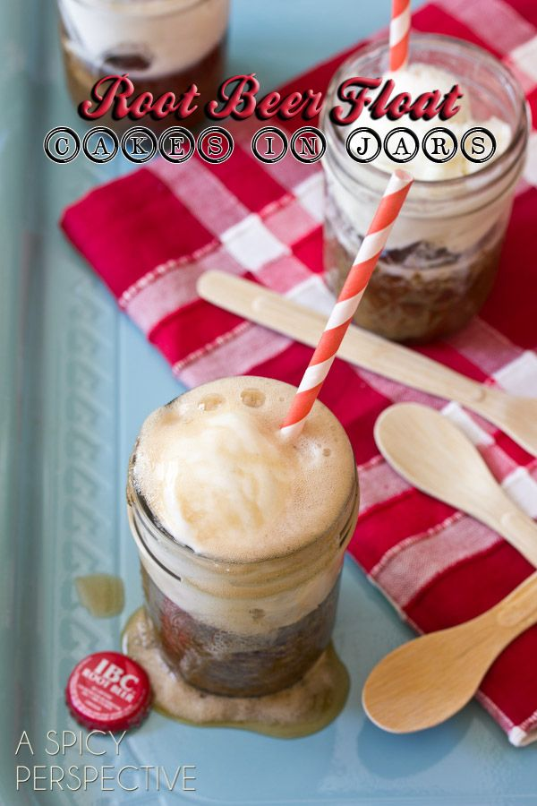 "Root Beer Float Cakes - Desserts in Jars!  -- The cake itself is flavored with root beer, molasses, and brown sugar. If you choose to make it into a ""float,"" you'll love how much the cake tastes just like the real thing. You'll start thinking that you'd been transported to an old soda shoppe."