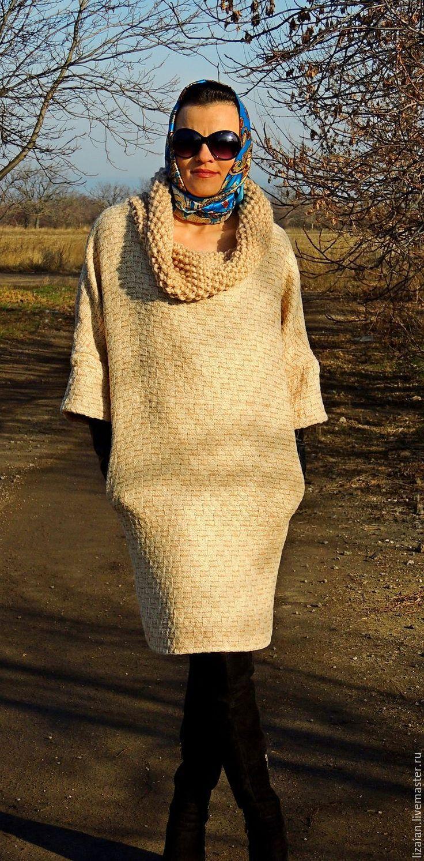 """Купить Зимнее платье в стиле """"Офисный БОХО"""" - бежевый, платье зимнее, платье из шерсти"""