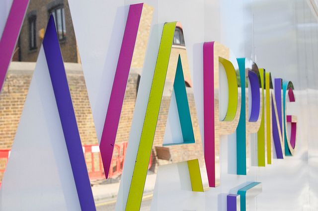 eye-catching hoarding scheme using CNC routered letters to great effect, each letter was applied with a mirror vinyl face