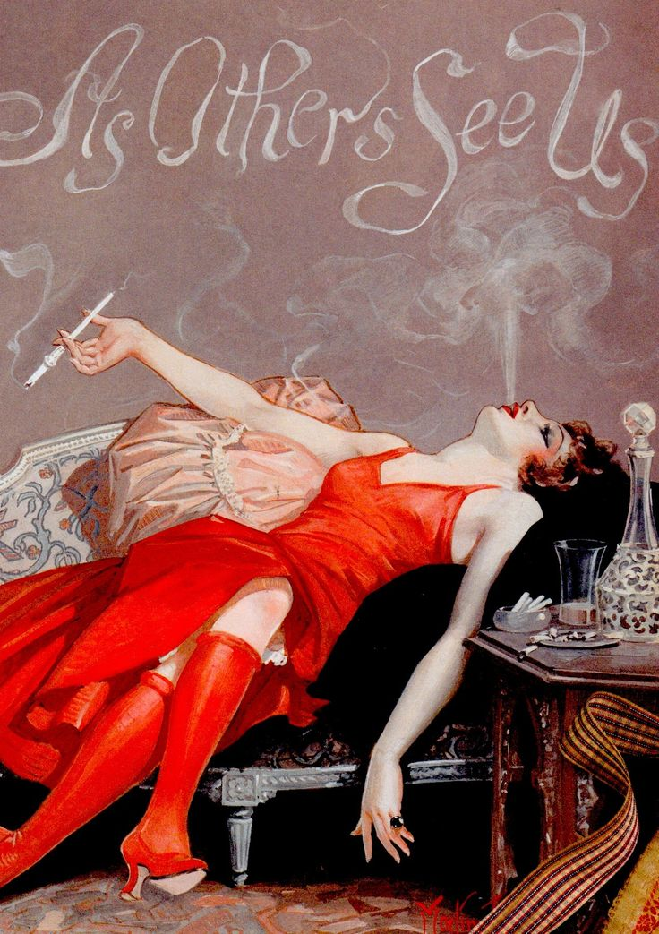 Smoking flapper 1920's illustration by Maclin. In the 20's a woman's cigarette holder was different lengths for different lengths for different social occasions -opera, theatre, dinner or cocktail parties. From Fashionable: An illustrated history of the bizarre & beautiful concept by Ariana Klepac. 2012. (minkshmink)