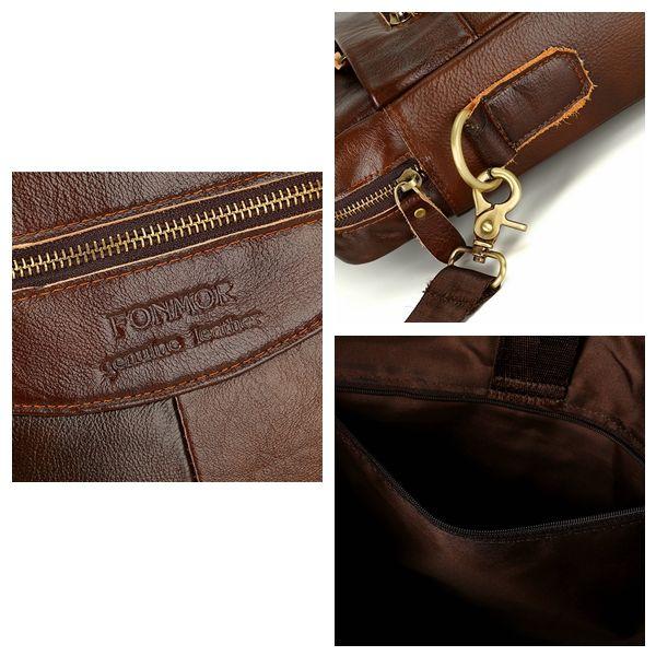 Leather Vintage Handbag Business Briefcase Crossbody Bag