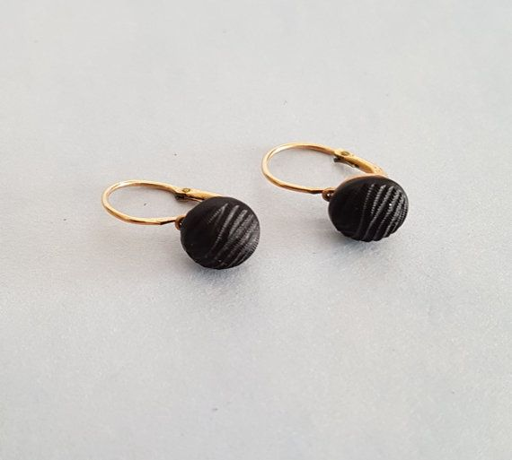 Antique jet mourning dormeuse Oria earrings. by anordicrose