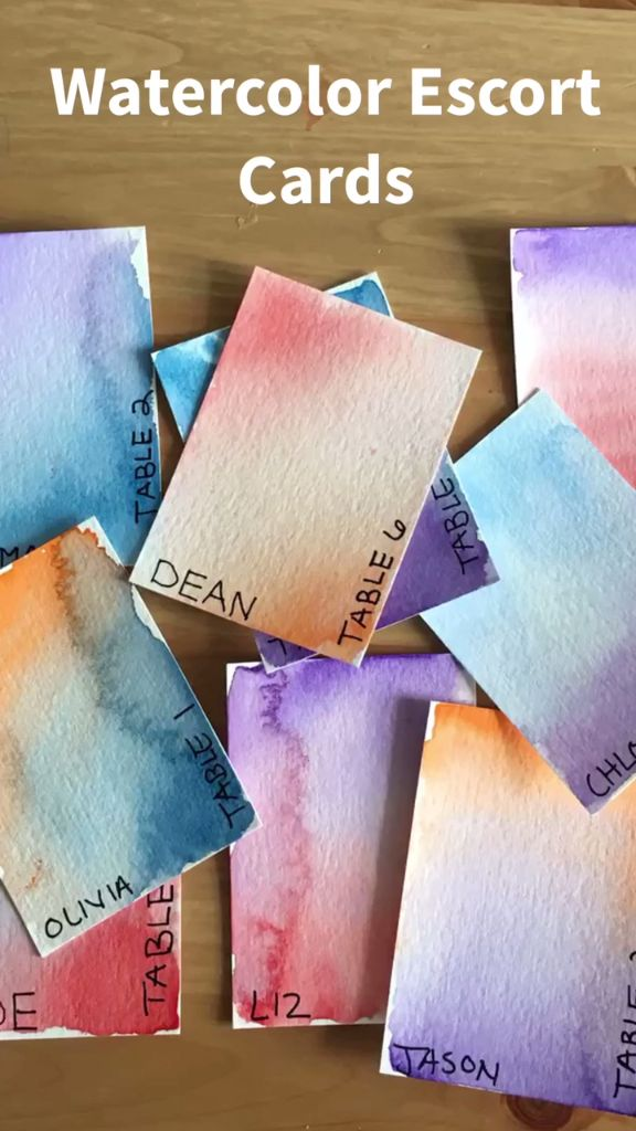 Water Color Escort Cards
