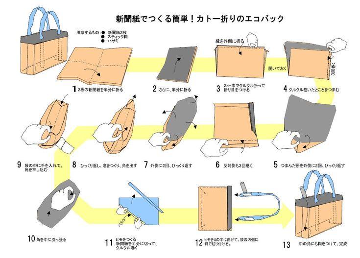 ハート 折り紙:新聞紙 ゴミ箱 折り方 簡単-jp.pinterest.com