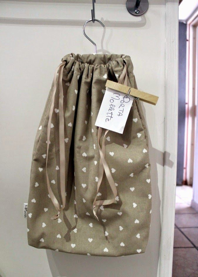 Sacco porta mollette in cotone 100% con appendino in metallo, Clothes Pin Bag, Sac à pince a linge