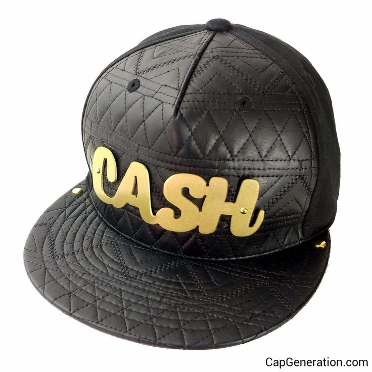 CASH Gold (or Silver) Metal Plate Black Mixed Leather SnapBack Baseball Cap