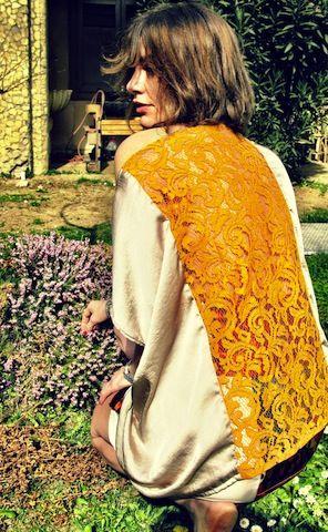 Camicia susanna, realizzata patchwork in raso di seta con intervento in pizzo sulla schiena euro 85,00