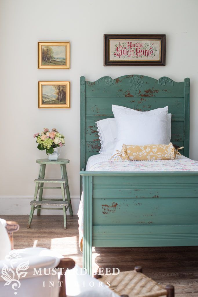 miss mustard seed   cottage bed reveal      Miss Mustard Seed reveals another milk paint makeover for the Lucketts Spring Market. See how she uses a custom mix of Miss Mustard Seed's Milk Paint and Tough Coat to create a beautiful, chippy finish on an ant