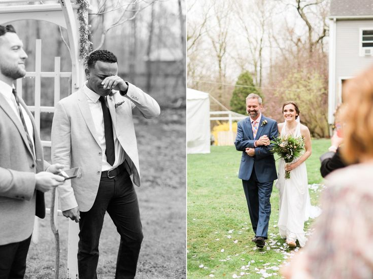 Groom's reaction to bride; groom crying; Cassidy & Dom had the most beautiful intimate backyard wedding - complete with personal details and only the people that mean most to them! Our favorite!