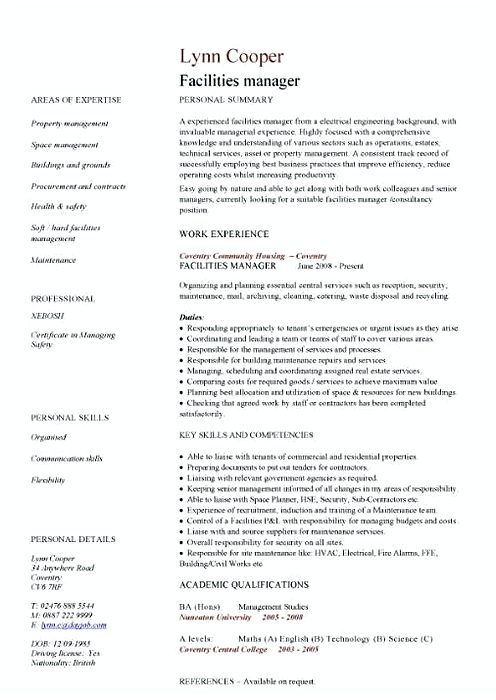 1098 best Resume template images on Pinterest - facilities operations manager sample resume