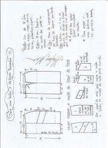 Esquema de modelagem de saia com bolsos e debrum tamanho 50.