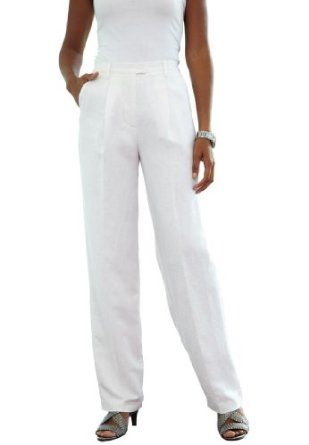 Jessica London Plus Size Linen Blend Pants White,14 Jessica London. $27.49