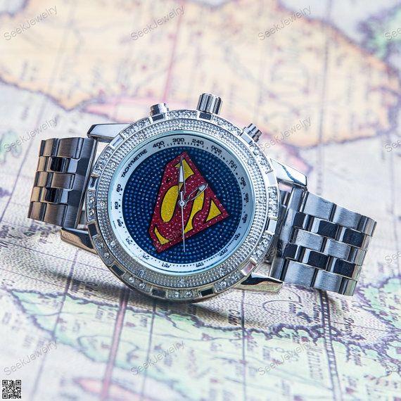 Mens Superman Watches Bling Women wristwatches by seekjewelry, $24.49