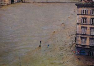 FIRENZE DEVASTATA 1966 - Arno visto da Via De' Bardi, alluvione 4 novembre 1966