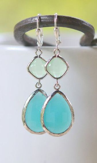 Large Turquoise Teardrop and Mint Diamond Dangle