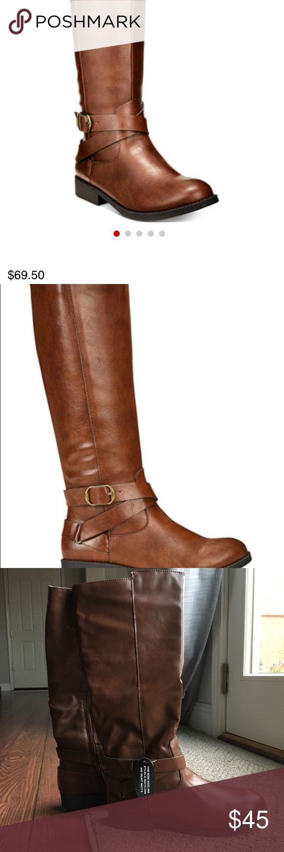 """Cognac Riding boots Round tie riding boots with full zipper. Never worn. Great condition. 16"""" height Style & Co Shoes"""