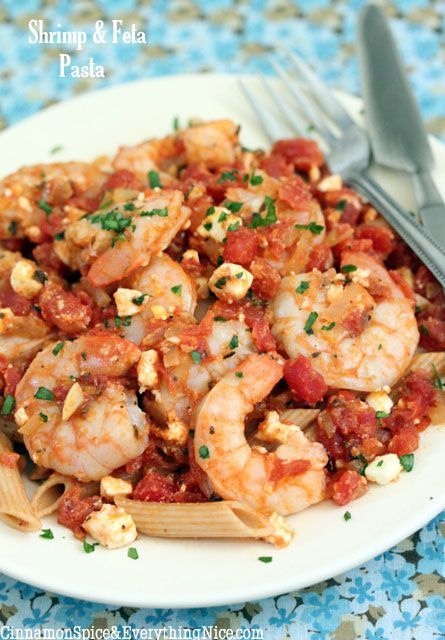 "Greek Shrimp and Feta Pasta. This was EXCELLENT! The only thing I added was about 1/2 cup of white wine to make it a bit ""saucier"". This would make a great appetizer without the pasta."