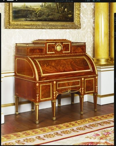 """1785 French Desk in the Royal Collection, UK - From the curators' comments: """"David Roentgen developed a line in mechanical pieces of furniture of such precision and techncial perfection that his fame spread throughout Europe. He travelled the courts of Germany on sales promotion tours; he visited France where he was received at court and was admitted in 1780 to the Guild of Parisian furniture makers..."""""""