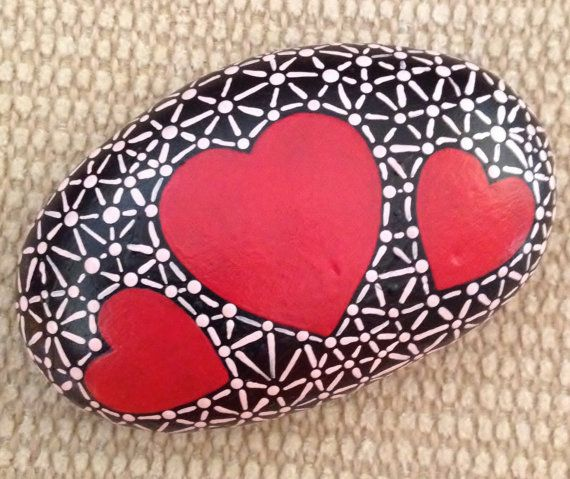 Hand Painted Rock Valentine Gift by AfterHourArt on Etsy
