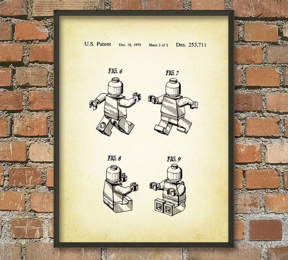 Lego Patent Wall Art Poster by QuantumPrints on Etsy, £3.00