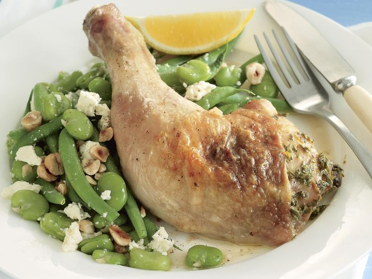 Citrus chicken marylands with bean salad.