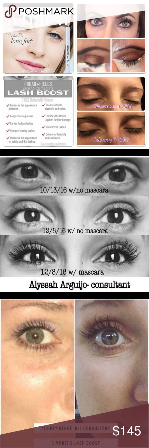 Rodan and Fields lash boost! Stop destroying your lashes with extension. Lash boost gives you lashes that are 100% real and 100% your.  Tube last 60 days!  One swipe at night before bed each night is all you need.  My personal results at shown in the pictures as well. Price listed is with tax factored. If interested please message me, since I am a consultant we have to order through my website. rodan and fields  Makeup